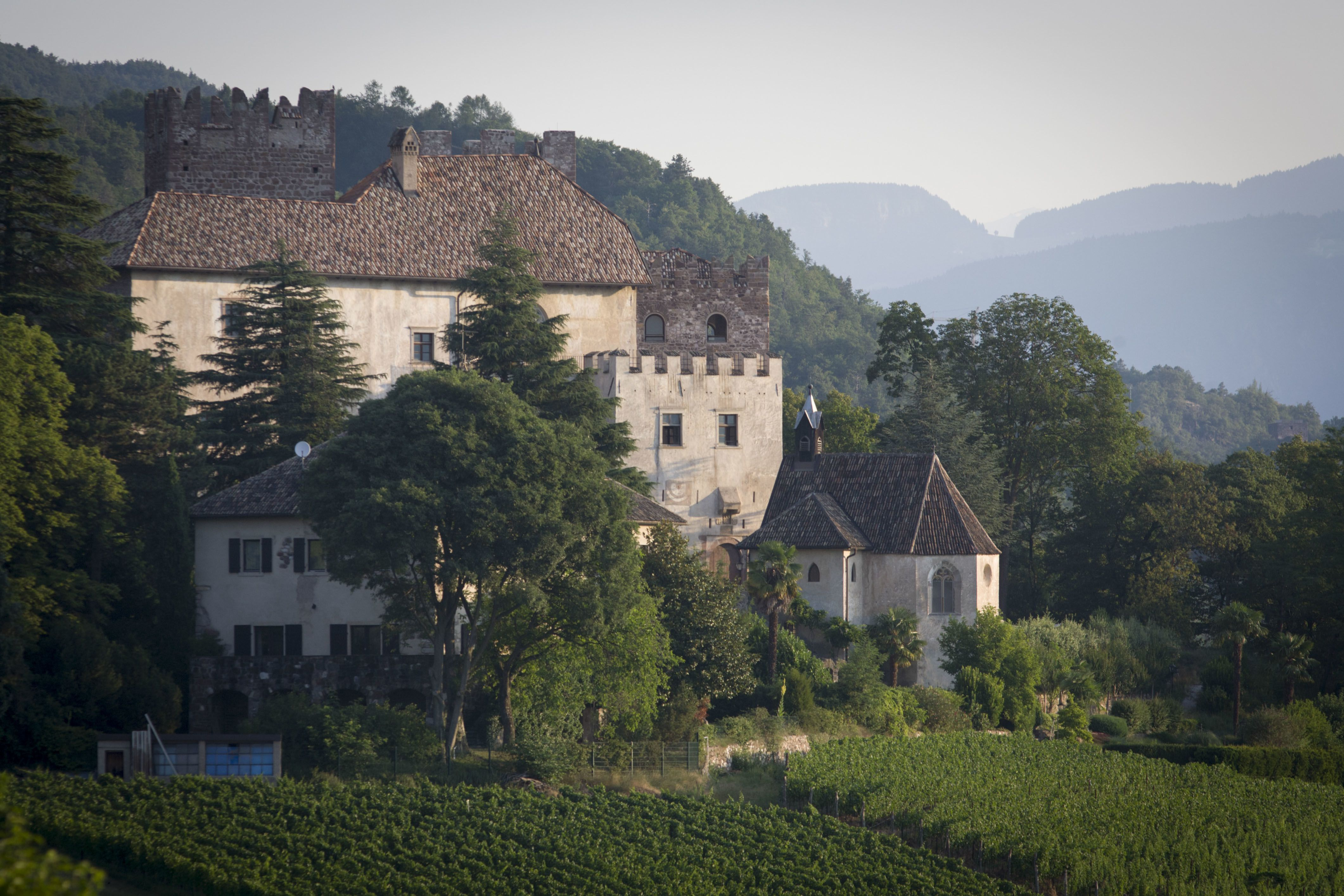 fortified house with crenellation in the hills of Italy