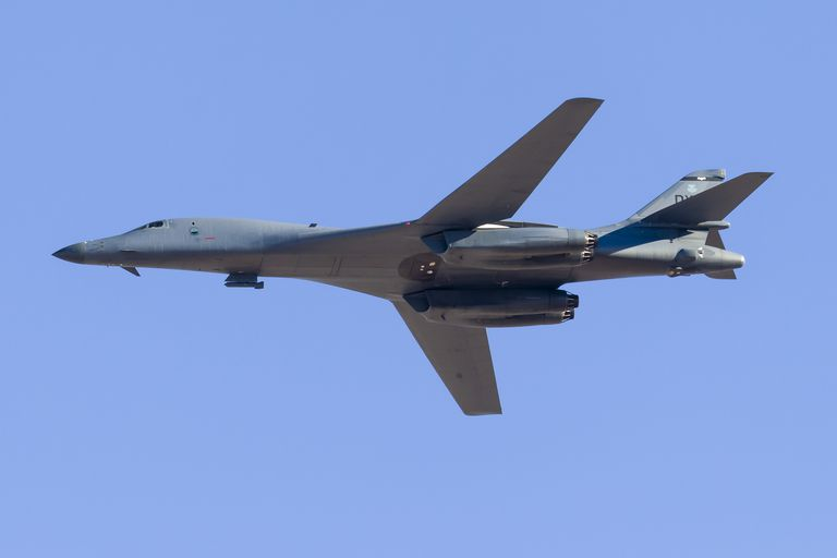 A U.S. Air Force B-1B Lancer overflies Nellis Air Force Base, Nevada.