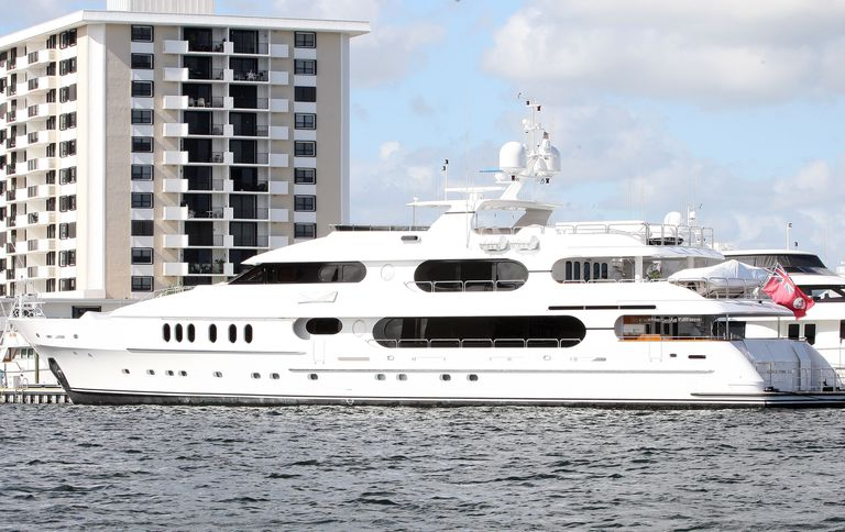 Tiger Woods' yacht, named Privacy, docked in Palm Beach, Fla.