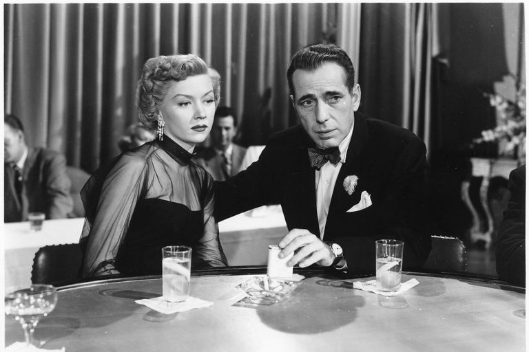 Gloria Grahame and Humphrey Bogart in the movie In a Lonely Place