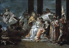 'Sacrifice of Iphigenia', 1735. Artemis, the Greek goddess of hunting, watches the preparations for the sacrifice of Iphigenia