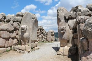 Lion Gate in Hattusa, Turkey featuring two lion statues embedded in what was once a doorway