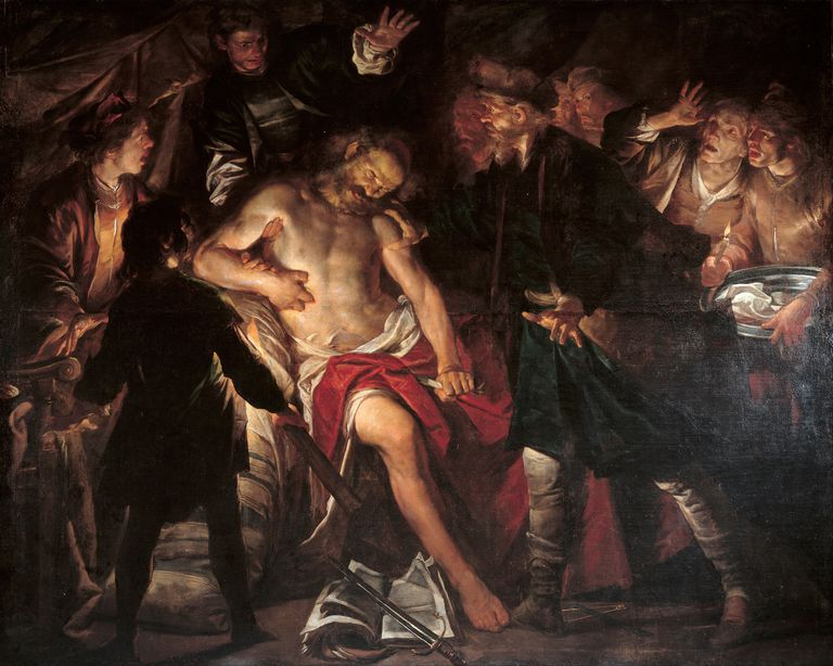 The death of Cato, c. 1640. Artist: Assereto, Gioacchino (1600-1649)