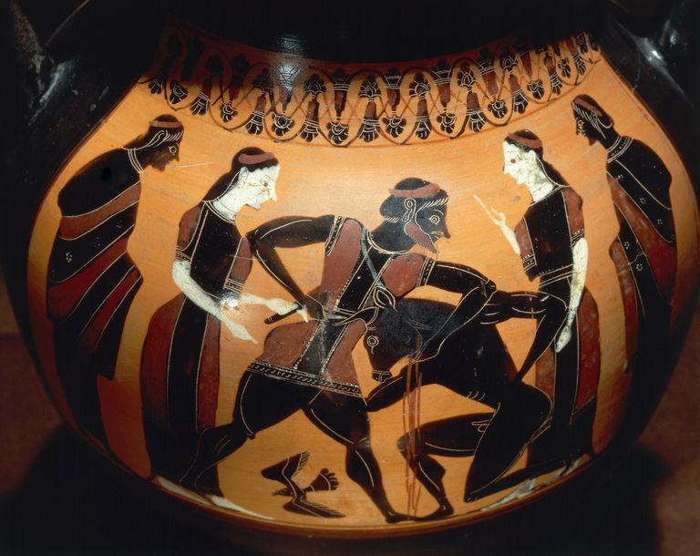 Theseus Fighting the Minotaur, Archaic Ceramic (6th century BCE)