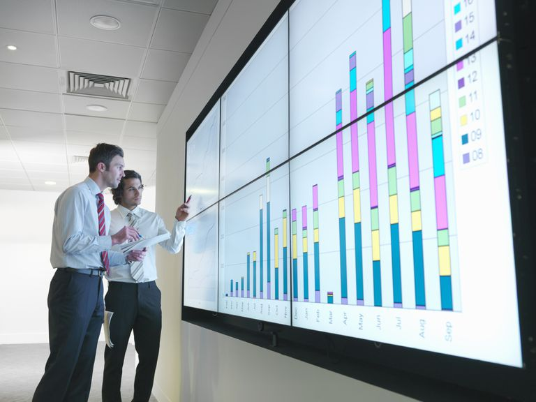 Business people look at a large display of data