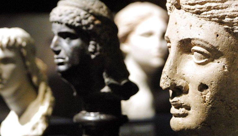 Marble portraits of Cleopatra at an exhibition at The British Museum in London 10 April 2001.
