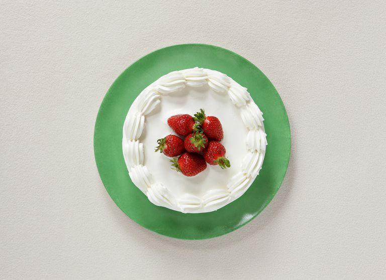 Strawberry cake,aerial view