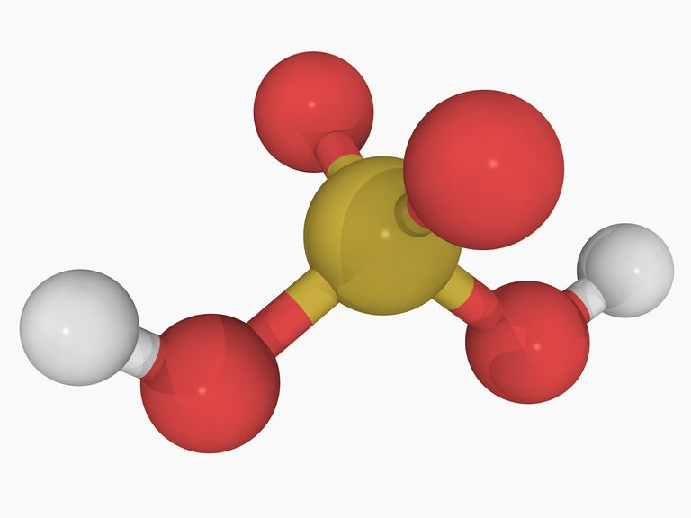 This is a three-dimensional model of sulfuric acid, a common strong acid.