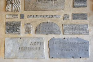 Marble plates with inscriptions in ancient Latin