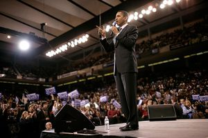 Barack Obama giving a speech on the campaign trail