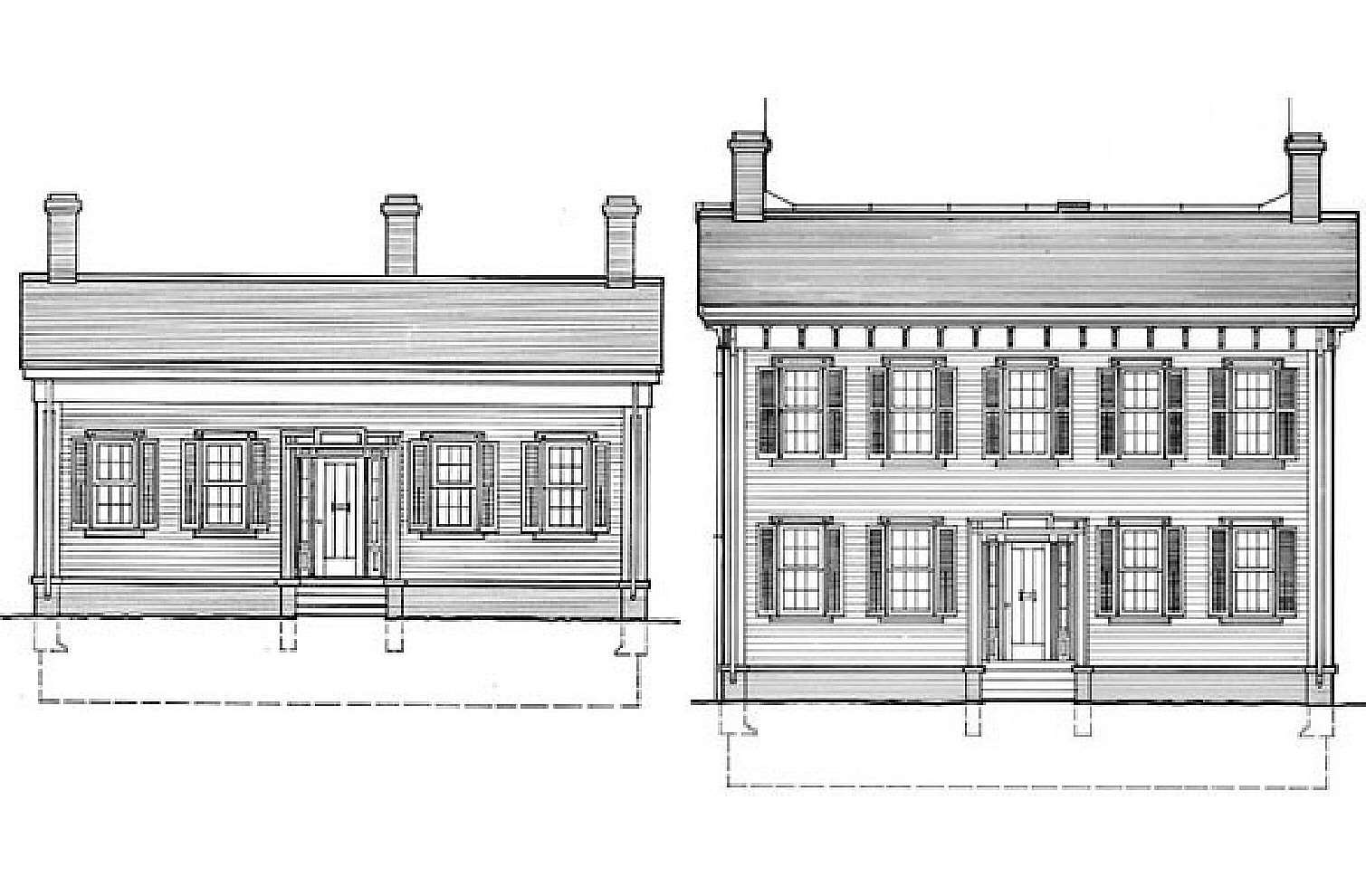Elevation Drawings, The Lincoln Home From One-and-a-Half Story to Two Stories