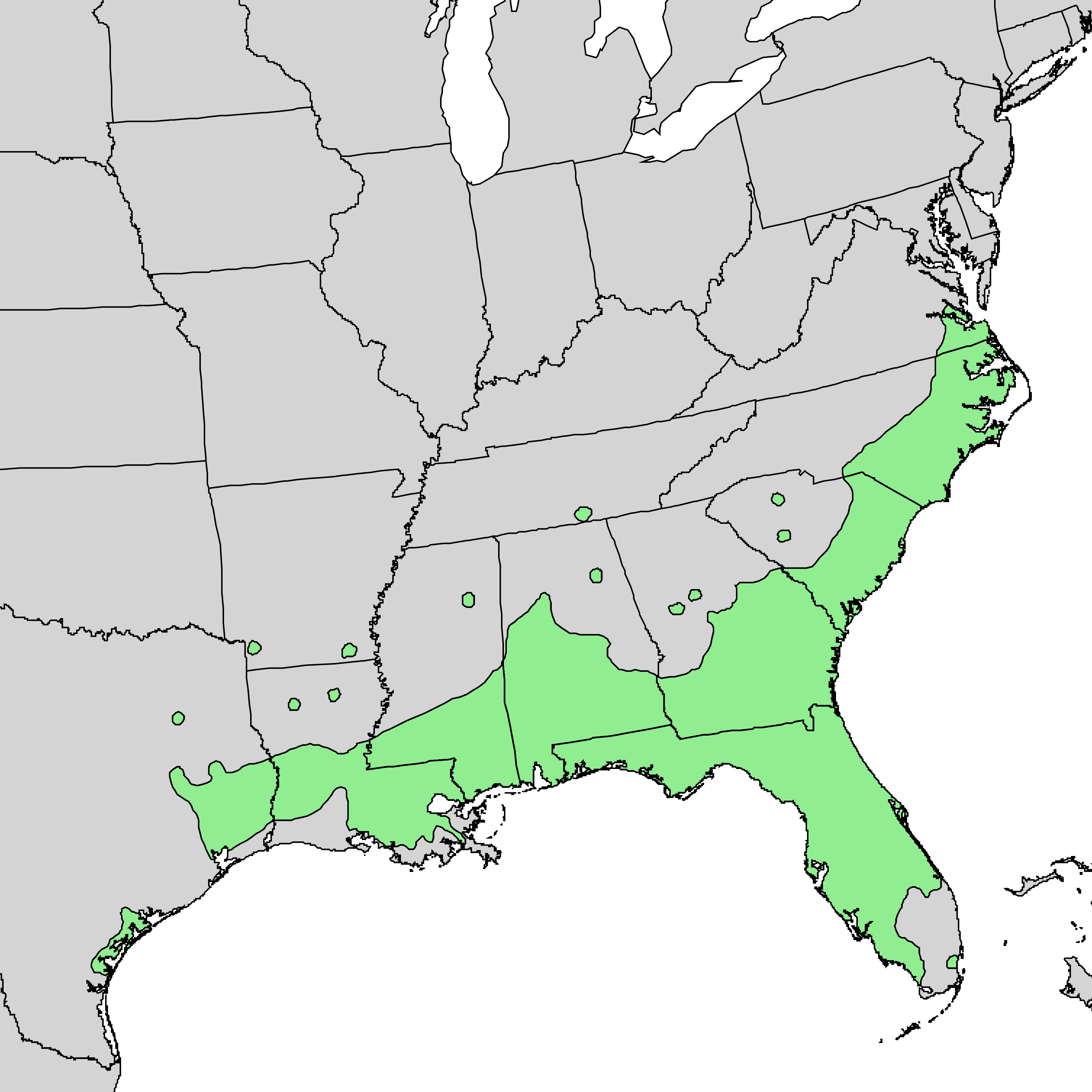 distribution map of laurel oak