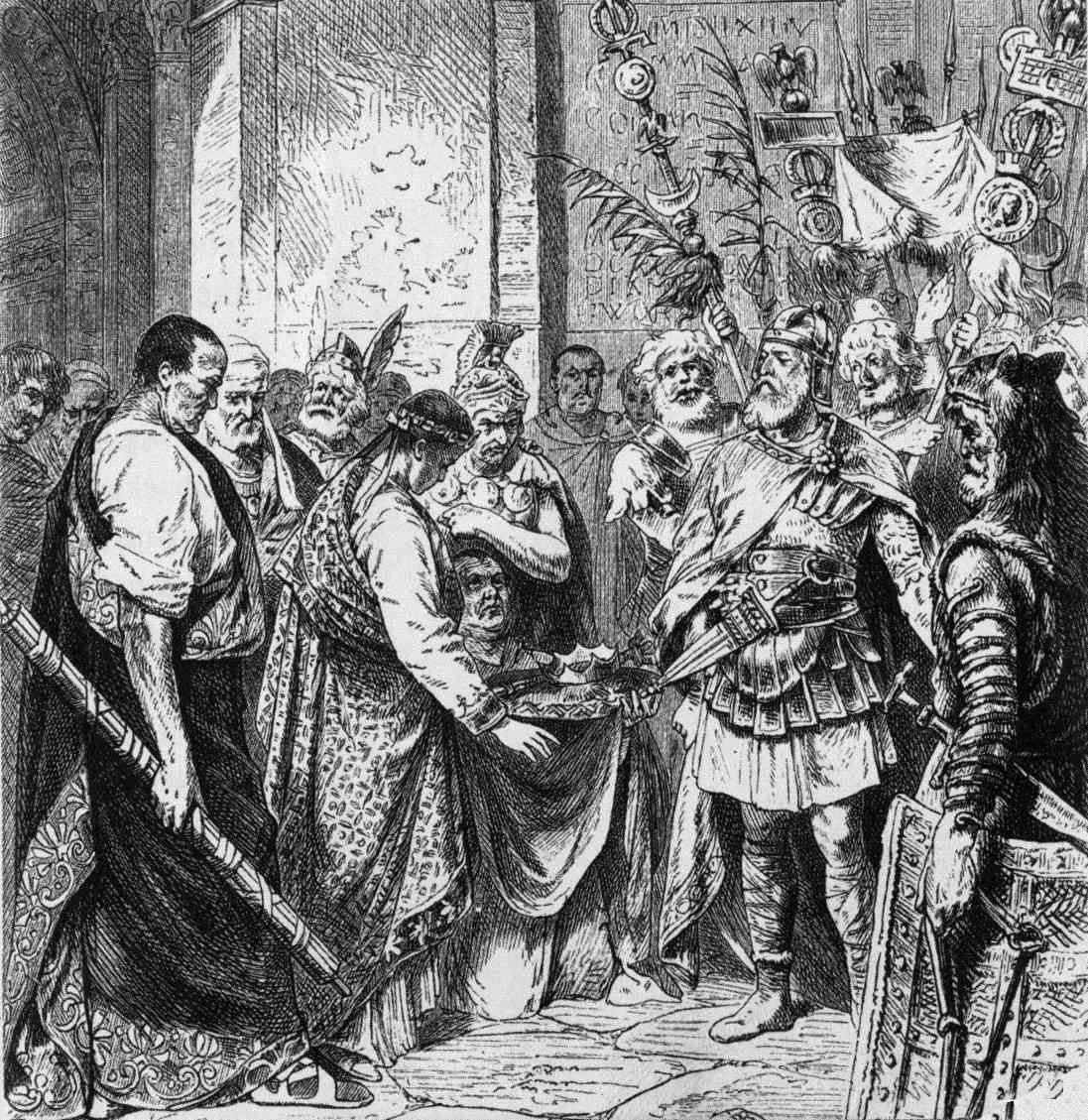 Romulus Augustulus resigns the Roman crown to Odoacer