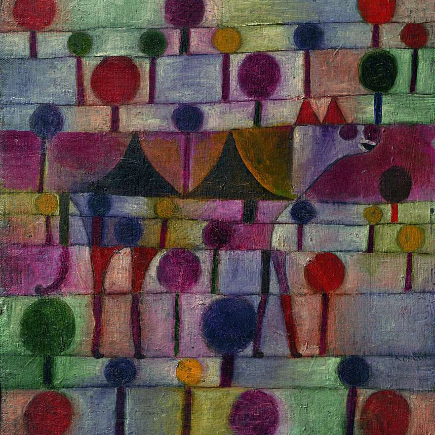 Abstract painting of geometric shapes in rows titled Camel in a Rhythmic Landscape of Trees