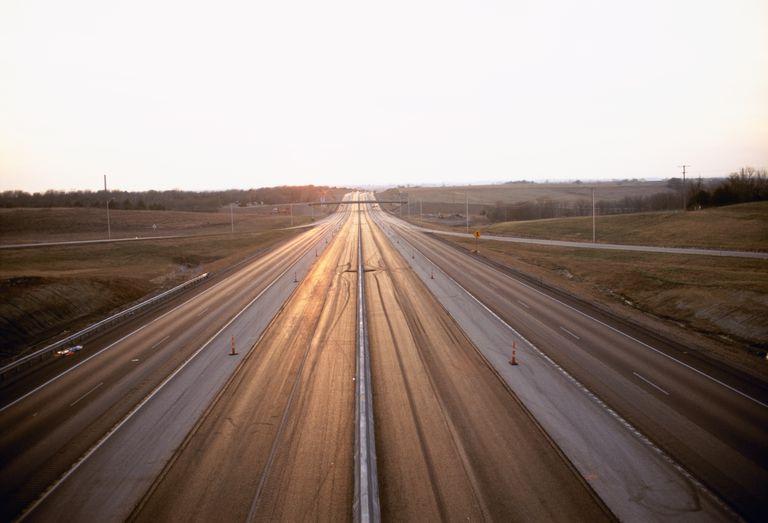 Highway passing through a landscape, Kansas Turnpike, Interstate 70, Shawnee County, Kansas, USA