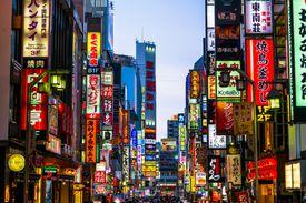 neon signs in Shinjuku, Tokyo