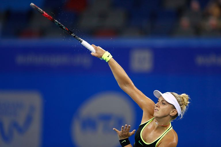 Sabine Lisicki of Germany serves against in a 2016 match in China