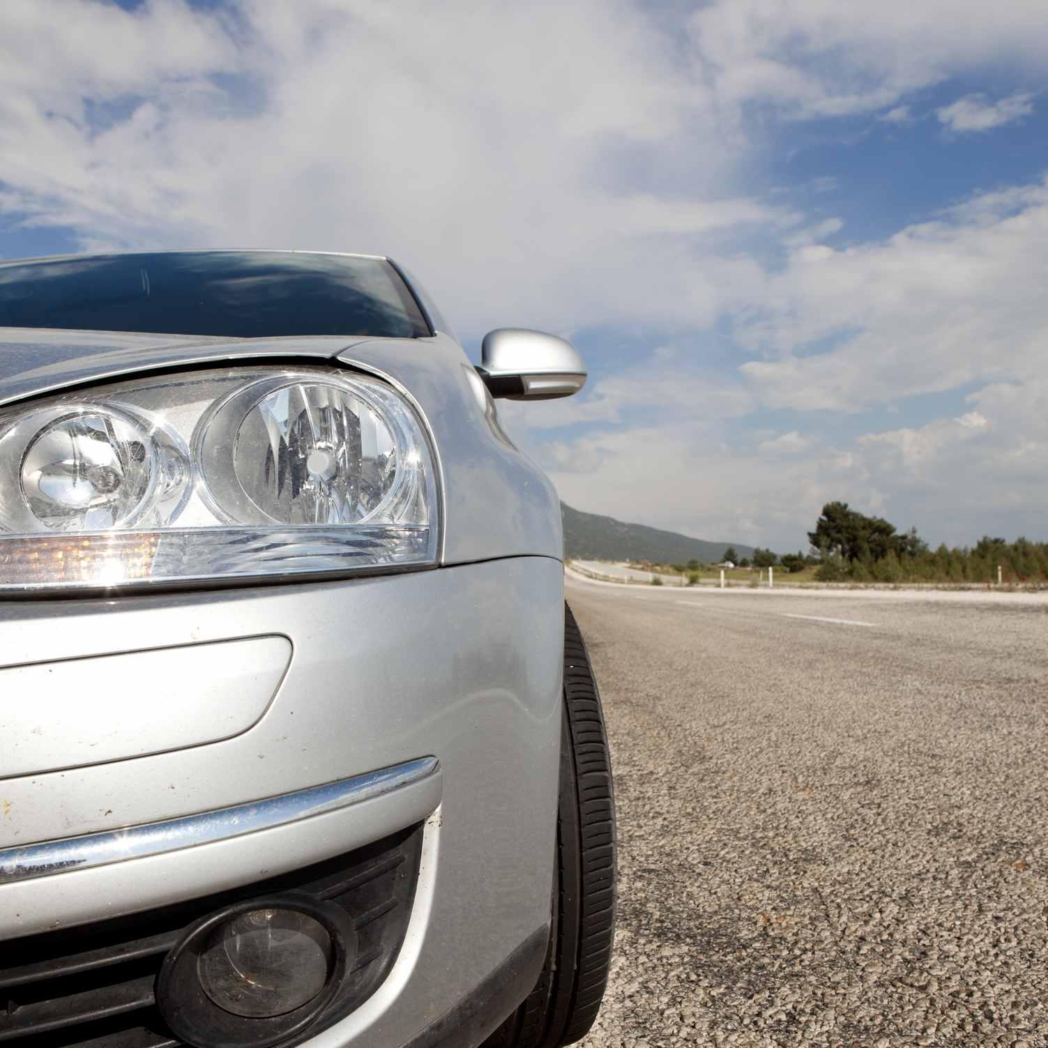 Closeup of a car headlight