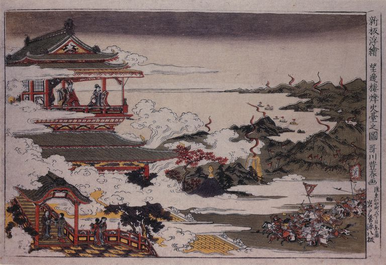 An Lushan and his troops attack on Emperor. Artist: Utagawa, Toyoharu, ca 1770