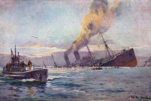 U-boat sinking a troop transport by Willy Stöwer