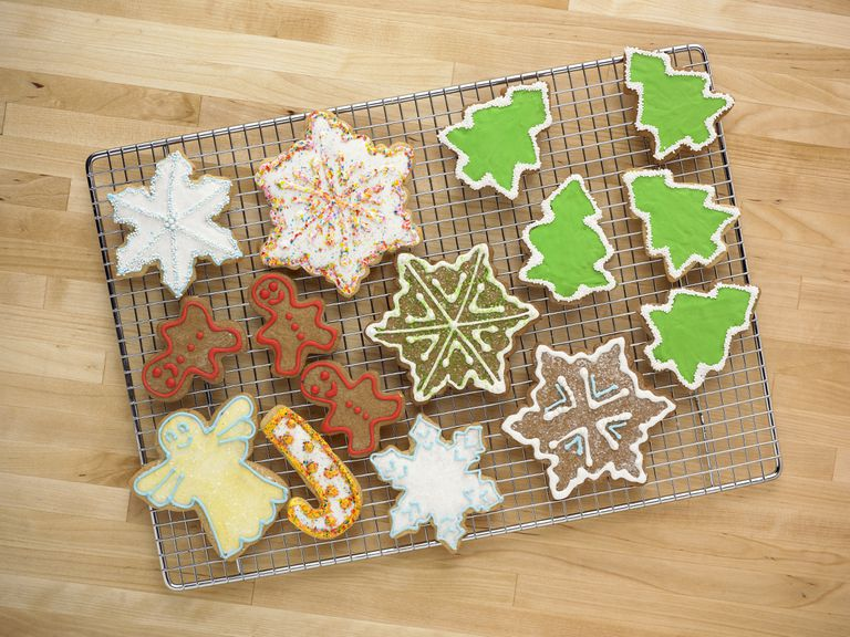Decorative Holiday Cookies on a Cooling Rack