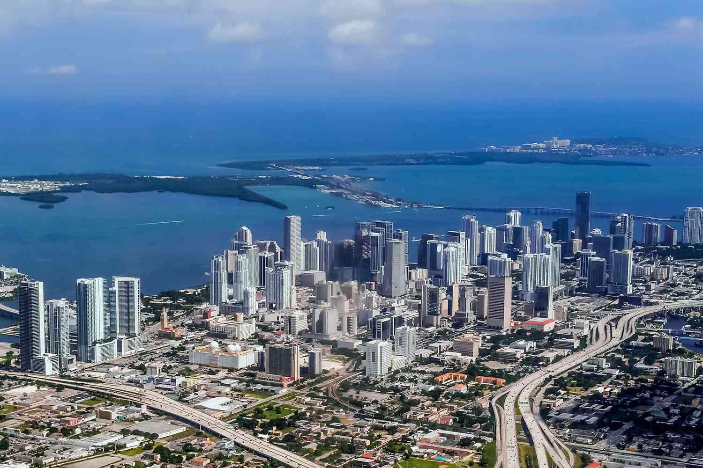 Miami coastline on the Atlantic Ocean.