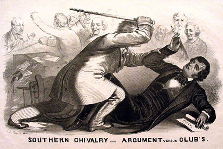 Congressman Preston Brooks attacking Senator Charles Sumner