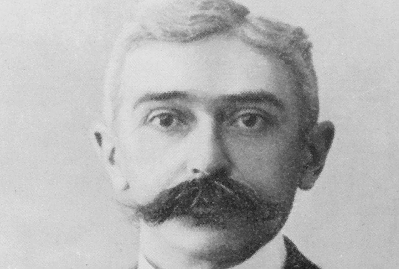 Pierre de Coubertin head shot, black and white photograph.