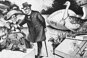 Cartoon of William McKinley Trying to Stop Yellow Journalism