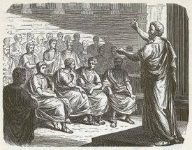 Classic illustration of Demosthenes giving a lecture