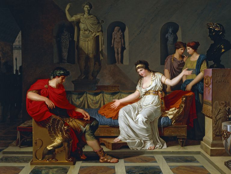 Meeting between Cleopatra and Octavian after Battle of Actium, 1787-1788 by Louis Gauffier (1761-1801), oil on canvas, cm 83,8 x112,5 cm, 18th century