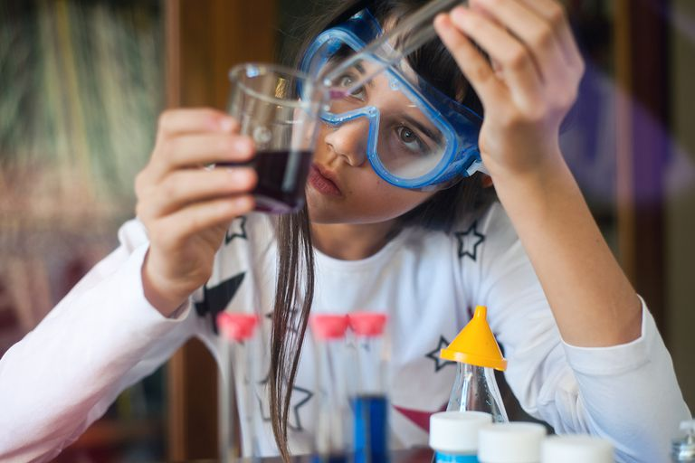 A young chemist with a mixture