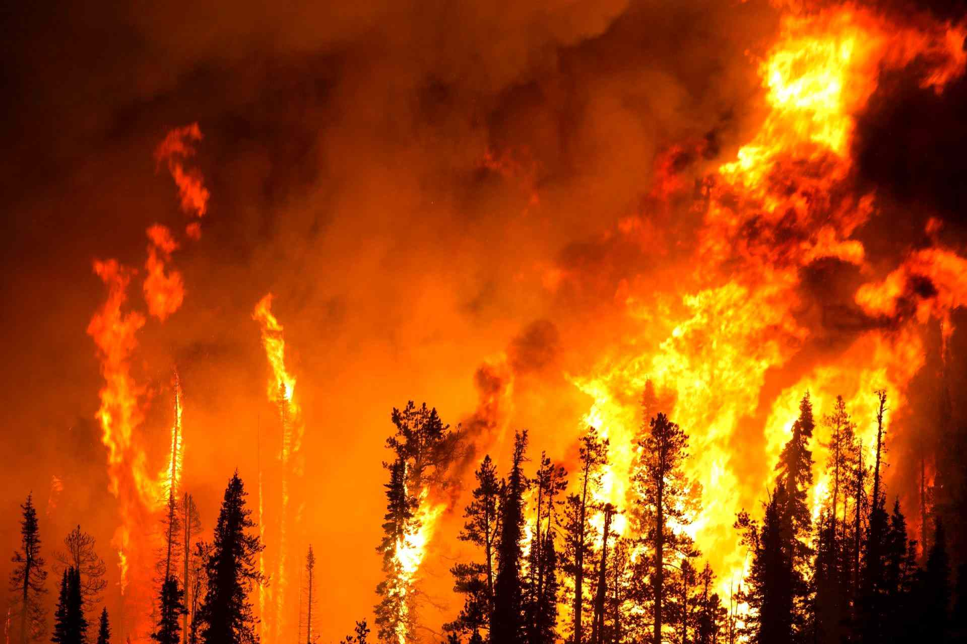 A smokey wildfire sends up spurts of white hot flame
