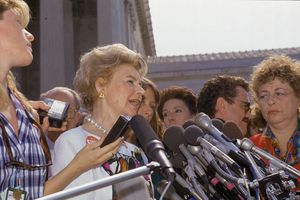 Schlafly speaks to press after US Supreme Court's decision in 'Planned Parenthood of Southeastern Pennsylvania v. Casey, 505 U.S. 833,' Washington DC, June 29, 1992