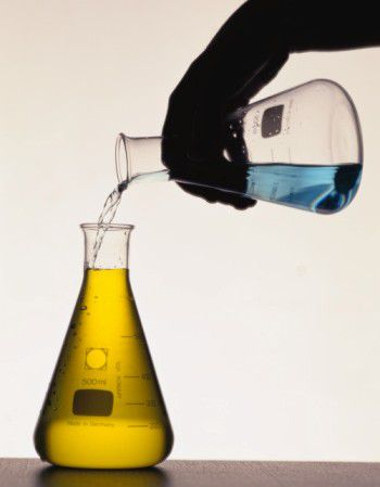 A blue beaker poured into a yellow beaker
