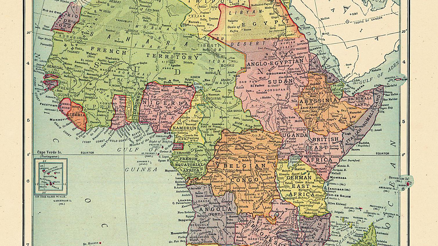 French Africa Map.The Colonial Names Of African States