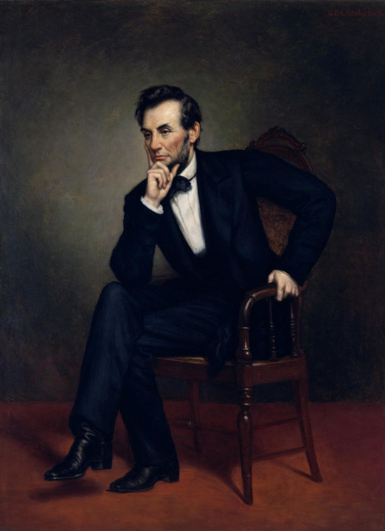 Civil War painting of President Abraham Lincoln seated in a chair.