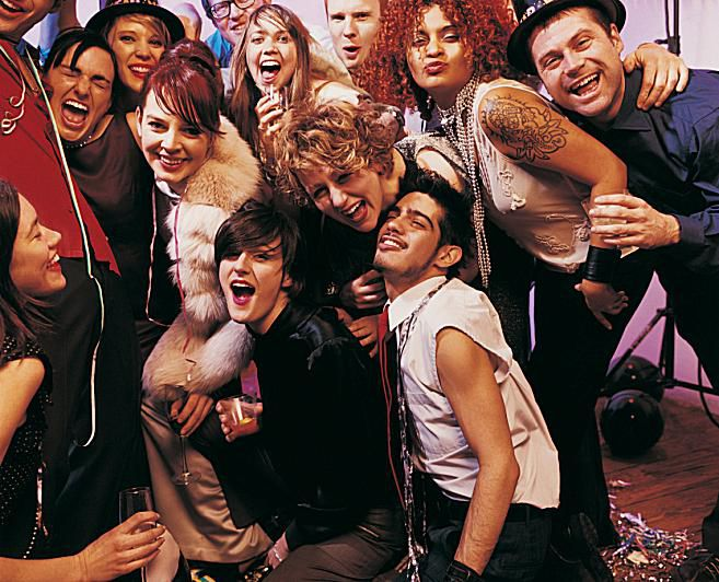 College-aged young adults at a party