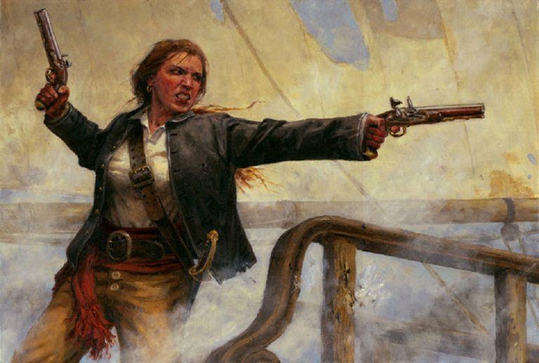 Anne Bonny on her ship artist rendering