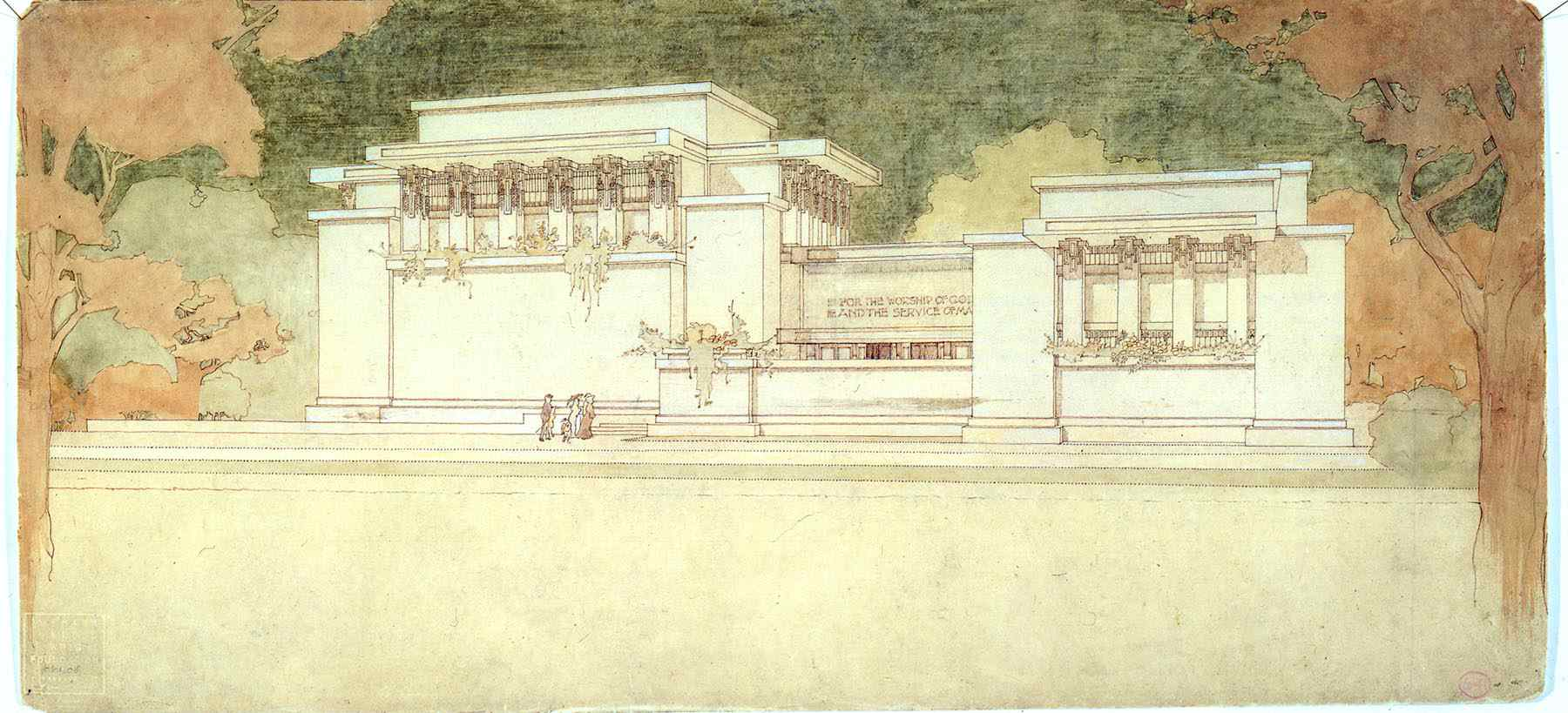 Unity Temple Drawing by Frank Lloyd Wright