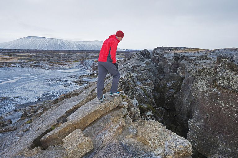 Diverging plates in a volcanic fissure zone, Myvatn, Iceland, Polar Regions