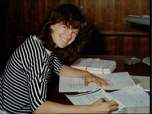 Sally Ride After STS-3 Mission Specialist/Astronaut Sally Ride goes over post-flight data STS-3