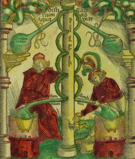 Alchemists engaged in distillation