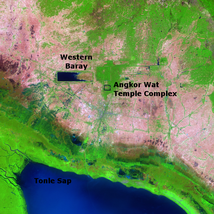 West Baray Reservoir at Angkor taken from Space