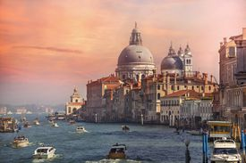 Tourist Boats Traffic on the Grand Canal at Sunset, Venice, Italy