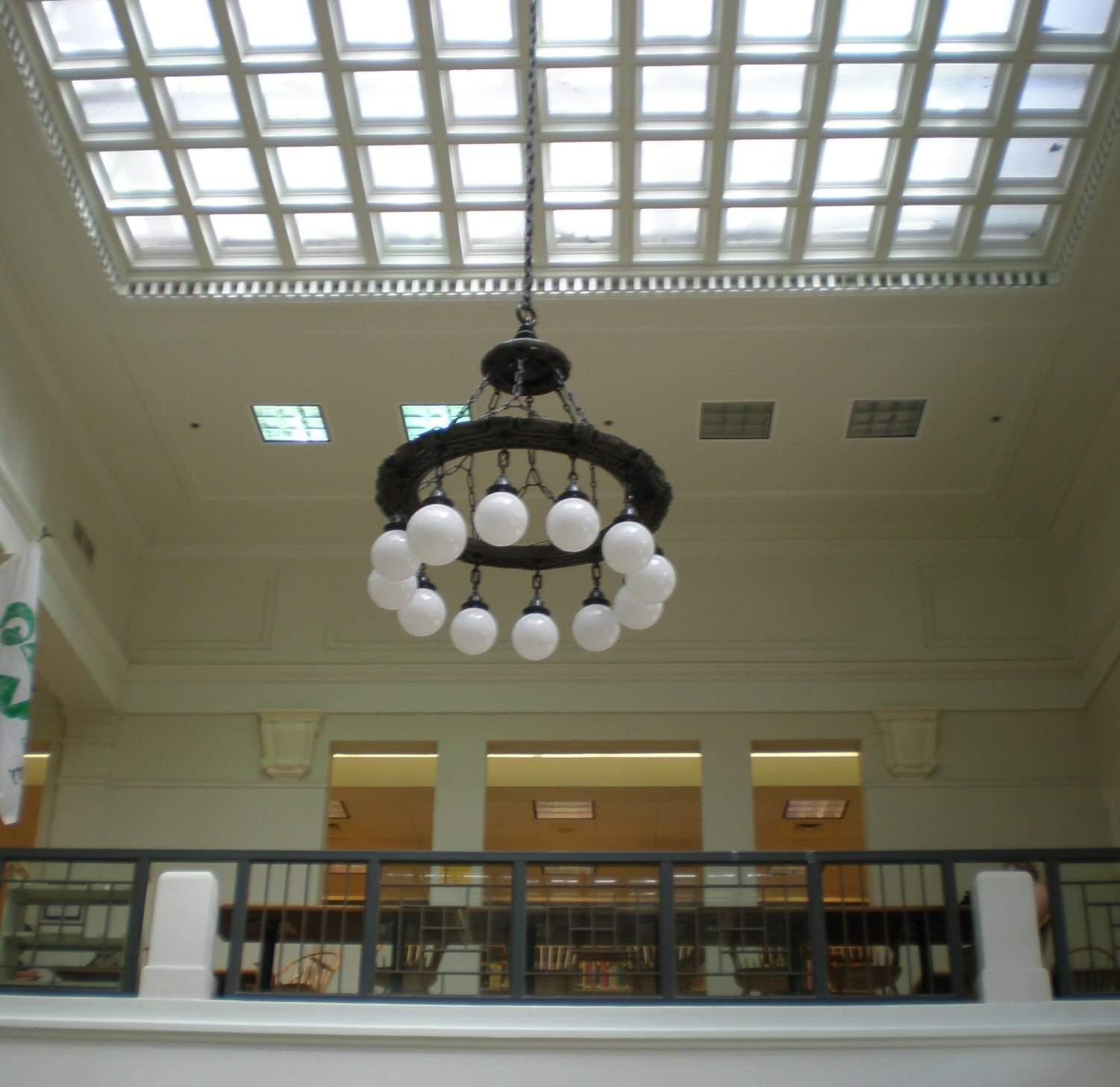 Chandelier and skylight in foyer, Hawaii State Library