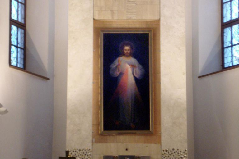 The first Divine Mercy painting by Kazimierowski (1934) at the Divine Mercy Sanctuary (Vilnius)