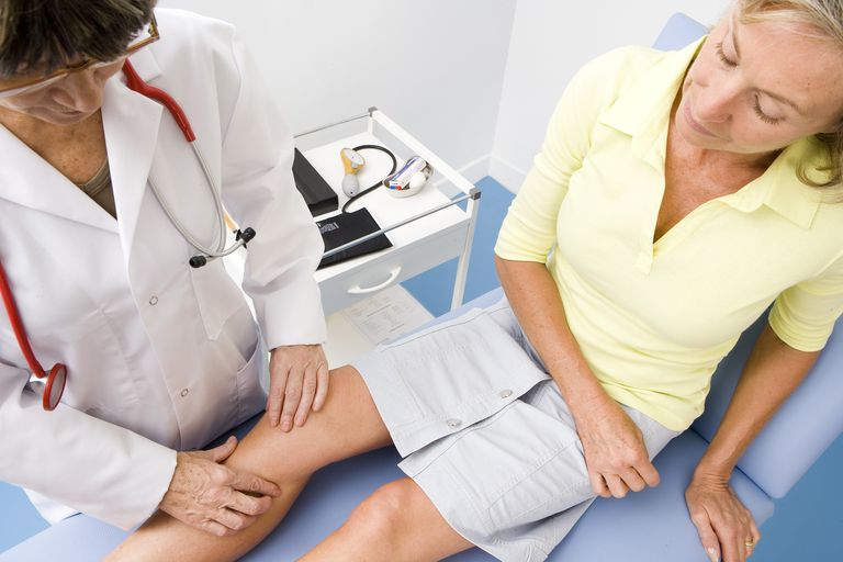 Doctor examining a patient's knee.