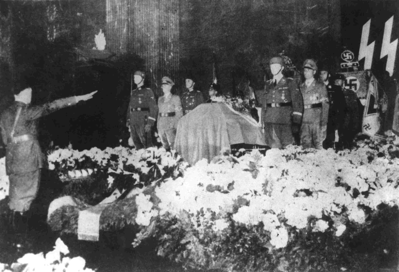 photograph of Hiter at funeral of Reinhard Heydrich