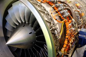 Close up of jet engine.
